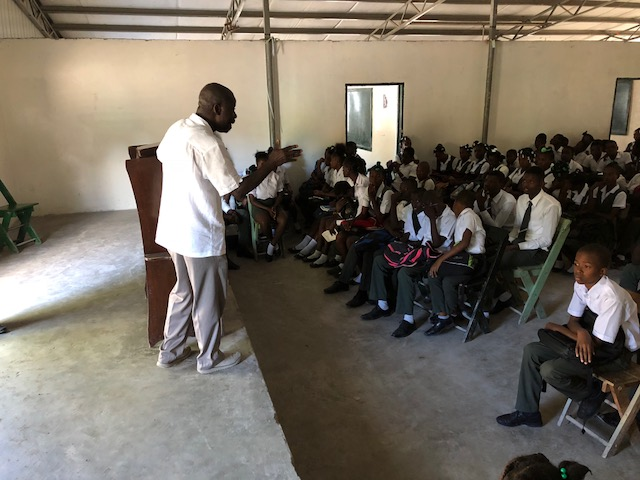 joseph in haiti post 2 speaking to class